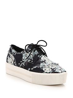 Ash Krush Studded Floral-Print Leather Platform Sneakers