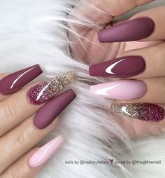 46 elegant acrylic ombre burgundy coffin nails design for short and long nails -. - 46 elegant acrylic ombre burgundy coffin nails design for short and long nails – – - Mauve Nails, Burgundy Nails, Glitter Nails, Gel Nails, Ombre Burgundy, Glitter Art, Nail Nail, Pink Glitter, Golden Glitter