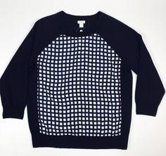 NWT J.CREW L Merino wool silk-panel Women's sweater Large 3/4 sleeves stylish #JCrew #Crewneck