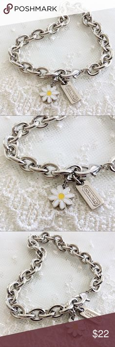 "Coach White Daisy Charm Bracelet 🎀NOTE TO BUYERS... I ONLY consider offers on bundles🎀  100% Guaranteed Authentic Coach White Daisy Flower charm on CUSTOM 8"" silver bracelet with lobster closure clasp.  No box included.  I can adjust to ANY size needed....  Top Rated ⭐️⭐️⭐️⭐️⭐️Seller!  Follow me so you can be notified of new items listed!  Take a peek at my other listings for more treasures... Coach Jewelry Bracelets"