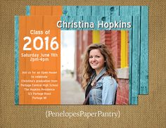 Graduation Invitation and Announcement,Rustic,Teal and Orange,1 Photo,High School or College Grad,Opt Back Print,Customizable,With Envelopes
