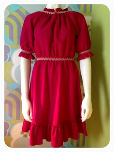Items similar to Vintage Boho Peasant Hippie Dress in Deep Red with Embroidery Size S M on Etsy Hippie Dresses, Cold Shoulder Dress, Etsy Shop, Boho, Trending Outfits, Shopping, Vintage, Fashion, Moda
