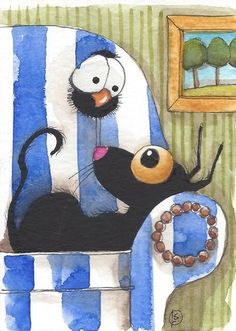 ACEO Original watercolor painting whimsical bird crow black cat sofa tree story #IllustrationArt