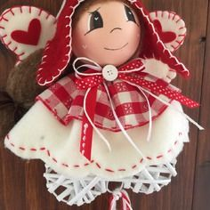 Angelo country fatta  a mano natale Christmas Crafts, Christmas Ornaments, Christmas Inspiration, Biscuit, Crafty, Dolls, Decoration, Holiday Decor, Gifts