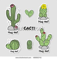 Collection of labels with cacti. Set of stickers.