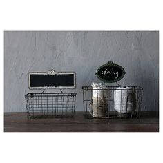 "Metal Basket with Chalkboard (2 13"") : Target"