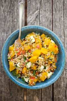 Roasted squach & Farro Salad w/ Feta (but I bet any healthy grain would work!)