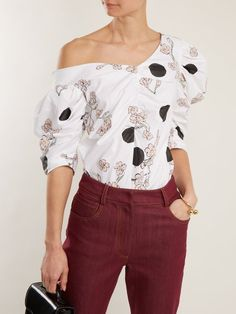 Floral-print one-shoulder gathered cotton top Off Shoulder Blouse, One Shoulder, Floral Prints, Ruffle Blouse, Cotton, Stuff To Buy, Outfits, Tops, Women