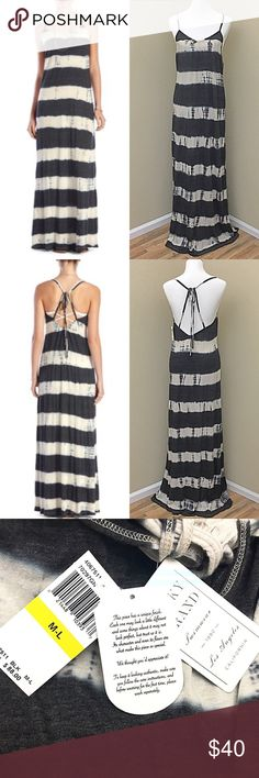 """Lucky Brand Black Tye Dye Sedona Swim Maxi Dress Go from poolside to party in this jersey maxi dress styled with bold, tie-dye stripes and a strappy open back. 50"""" center front length (size Medium/Large). Ties at back. 50% polyester, 38% cotton, 12% rayon. Brand new with tags! retails $88 Lucky Brand Swim Coverups"""