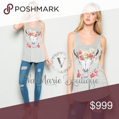COMING SOON - SKULL ROSE TANK TOP HEATHER GREY Arriving by 4/10. More details to follow. ValMarie Boutique Tops Tank Tops