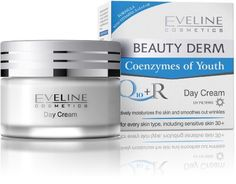 BEAUTY DERM Q10 + R Day Cream by Eveline Cosmetics. $12.99. Effectively smoothes out wrinkles and prevents new ones developing. Vitamins A, E, F, and H and SPF 15. Regenerates the skin for a youthful look. Gives the skin a fresh appearance and protects the skin from pollution. For normal to sensitive skin - Ages 30+. BEAUTY DERM Q10 + R DAY CREAM helps to stimulate the skins natural ability to renew the deeper layer of the epidermis. This cream effectively smooth...