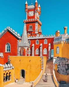 Beautiful and colorful Sintra in Portugal. Sintra Portugal, Spain And Portugal, Portugal Travel, Places To Travel, Oh The Places You'll Go, Travel Destinations, Places To Visit, Algarve, Pena Palace