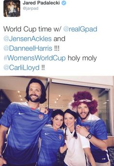 Jared, Gen, Danneel and Jensen at the Women's World Cup, July 2015