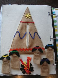 Teepee quiet book page with finger puppets and a campfire! So cute and original.