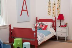 Red twin beds