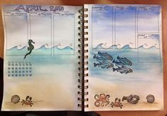 Under the Sea watercolour illustrated page by Rachel Bitton in a Little Deer Studio journal.