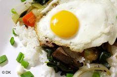 Sanchae Bee Bim Bap (Korean Fresh Vegetable Bibimbap) - Adapted from an authentic Korean cookbook, uses Portobello mushrooms instead of meat.