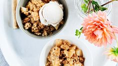 Quinoa flour ups the good-for-you factor in the topping of this fall party-ready crumble. For extra punch, serve with cinnamon ice cream, or vanilla ice cream sprinkled with cinnamon.