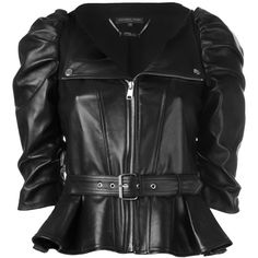Alexander McQueen ruched sleeve leather jacket ($4,355) ❤ liked on Polyvore featuring outerwear, jackets, black, puff sleeve jacket, alexander mcqueen, zip front jacket, 100 leather jacket and real leather jackets