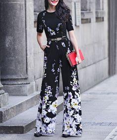 Black Floral Wide-Leg Jumpsuit - Plus Too