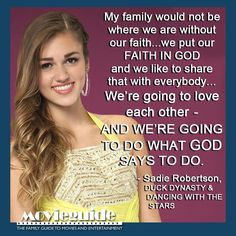 We loved what Sadie Robertson, from DUCK DYNASTY, had to say on DANCING WITH THE STARS last night!! #thequackpack