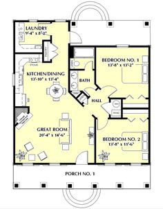*Southern Style House Plan - 2 Beds 1 Baths 1097 Sq/Ft Plan #44-148 Main Floor Plan - Houseplans.com