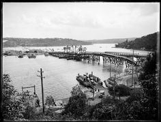Photo of The Spit Bridge, Sydney being built to replace the present vehicular punt that has been used for many years. (Photo undated) possibly taken mid 1920's. v@e