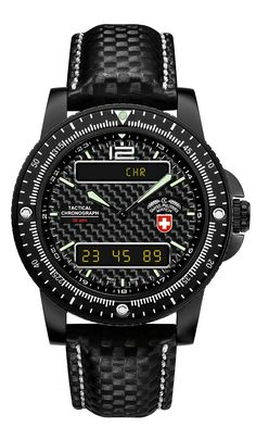 M's CX Swiss Military Watch ana-digital DELTA EVO, ETA cal. 988.333 Swiss Made quartz mvt. (alarm, date, 2nd timezone, chrono, countdown), black carbonfibre dial, stainless steel case / scratch-resistant DLC-plated, screw-down split-crown, sapphire crystal, black carbonfibre optic genuine canvas strap (length 225mm, width 20mm; pin buckle). Case: diameter 44mm, thickness 13.5mm, 30atm water resistant. Weight: 122gr