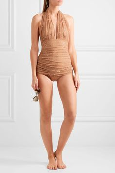 Norma Kamali - Bill Embellished Ruched Stretch-tulle Halterneck Swimsuit - Camel - x small