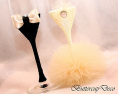 Wedding Glasses Set of 2 hand decorated Champagne by ButtercupDeco, $45.00 - I would like the colors pictured here.