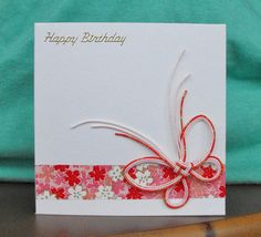 Mizuhiki Butterfly Origami Flowers Happy Birthday Card. £1.50, via Etsy.