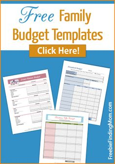 Free Family Budget Templates. Get your family's finances on the right track.