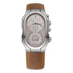 Philip Stein Men's Swiss Signature Chronograph Watch In Brushed Stainless Steel Brown