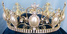 RHINESTONE IMPERIAL CELTIC JEWELLED QUEEN OR KING (UNISEX) GOLD FULL PEARL  CROWN