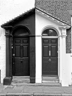 Black & White-    Doorways seen in Greenwich, London.