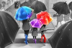"Based off of the Pixar short film ""The Blue Umbrella."" Inspiration came from a rainy day at my sister's soccer game. xD Traditional Vers: The Purple Umbrella Digital Disney Love, Disney Magic, Disney Art, Disney Stuff, Pixar Shorts, Disney Shorts, Purple Umbrella, Under My Umbrella, Disney And Dreamworks"