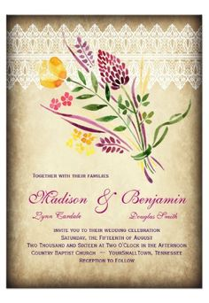 Rustic Floral Watercolor Vintage Wedding Invitations for a country wedding.  40% OFF when you order 100+ Invites.  #wedding