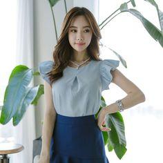 DOS SLIT ARM BL . . . #kfashion #koreanfashion #glamour #beauty #gorgeous #officeshirt #beagorgeoushera Glamour Beauty, Korean Fashion, Arm, One Shoulder, Ruffle Blouse, Blouses, Tops, Women, Women's