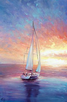 Oil Painting Trees, Simple Oil Painting, Artist Painting, Acrylic Paintings, Painting Styles, Couple Painting, Ship Paintings, Paintings Of Nature, Landscape Oil Paintings