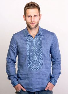 Men's shirt with real cross-stitch embroidery on blue linen. Advanced geometric pattern. Innovative design with 2 buttons on sleeves. Contemporary look of a very traditional Ukrainian vyshyvanka. Perf