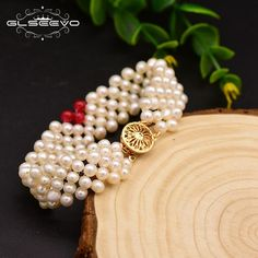 GLSEEVO Original Design Natural Fresh Water Pearl Multi Layer Bracelet For Women Wedding Gift Fine Jewlery Pulseras Mujer GB0135 Original Design, Layered Bracelets, Fresh Water, 18k Gold, Wedding Gifts, Jewlery, Layers, Women Jewelry, Pearls