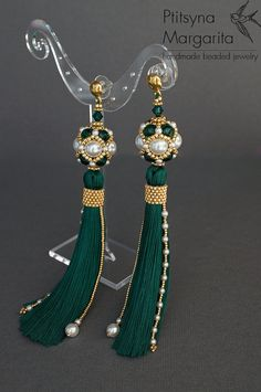 old price $59 - NEW PRICE $ 50.15 The offer is valid till September 2016 Long tassel earrings Emerald, earrings with tassels, beaded earrings, bead woven earrings, bead weaving earrings, beadwork earrings READY TO SHIP The upper part of the earrings is a beaded bead, made of Swarocski pearl, Czech seed beads and one Swarovski bicone beads. Lower part is a tassel, that I made of 100% rayon and its decorated with seed beads and Swarovski pearls as well. Tassels are light and flexible Metal...