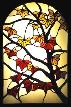 Maple leaf stained glass panel by Rainbow Glass Studios Rainbow Glass, Glass Panels, Stained Glass, Studios, Flora, Plants, Stained Glass Panels, Leaded Glass, Fused Glass