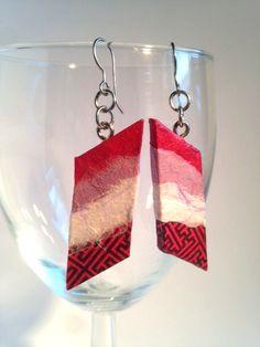 Striped Handmade Hanji Paper Dangle Earrings Parallelogram OOAK Striped Red Purple White Hypoallergenic hooks Lightweight