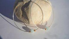 Sterling silver hoop earrings Aquamarine gemstones hook