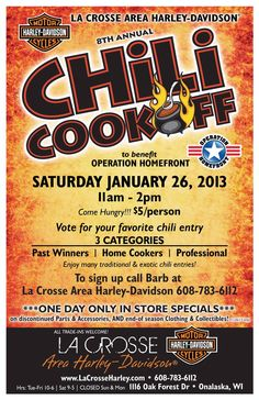 Looking for something to do Sunday? Check out the Chili Cook-off for @op_homefront at La Crosse Harley.