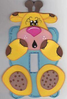 Interruptor em eva Foam Crafts, Diy And Crafts, Crafts For Kids, Paper Crafts, Iphone Background Wallpaper, Kokeshi Dolls, Paper Piecing, Classroom Decor, Art For Kids