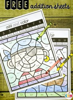 Free Color by Code Addition Sheets. Fun way to practice addition facts in kindergarten and first grade!