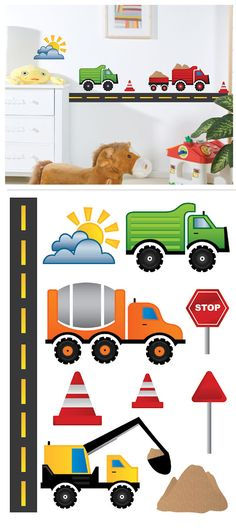 Art Applique Work Equipment Wall Sticker - Wall Sticker, Mural, & Decal Designs at Wall Sticker Outlet Boys Car Bedroom, Boy Rooms, Wall Stickers, Wall Decals, Wall Art Sets, Nursery Room, Home Decor Items, Classroom Decor, Painted Furniture