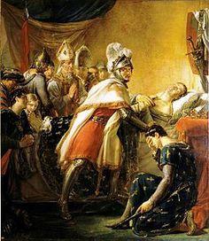 Mort de saint Louis devant Tunis 25 aout 1270 (Georges Rouget 1817)- Les croisés s'emparent de Carthage mais le manque d'eau potable et la chaleur favorisent le développement de la dysentrie. Contaminé, le fils du roi, Jean-Tristan, meurt le 3 aout 1270. Il est suivi de peu par son père qui décède le 25 aout sous les remparts de Tunis.